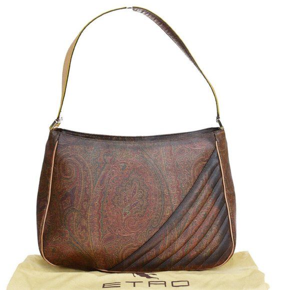 Auth Etro Paisley PVC, Leather Shoulder Bag